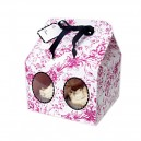4 Cavity Pink Toile Cupcake Box - Pack of 3