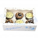 6 Cavity White Snowflake Cupcake Box